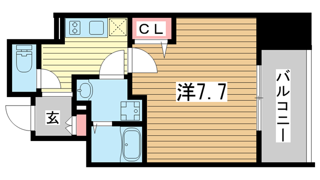物件番号: 1025883615 プレサンス神戸元町ベルシオン  神戸市中央区海岸通4丁目 1K マンション 間取り図