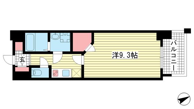 物件番号: 1025883621 ワコーレヴィータ湊川公園  神戸市兵庫区福原町 1K マンション 間取り図