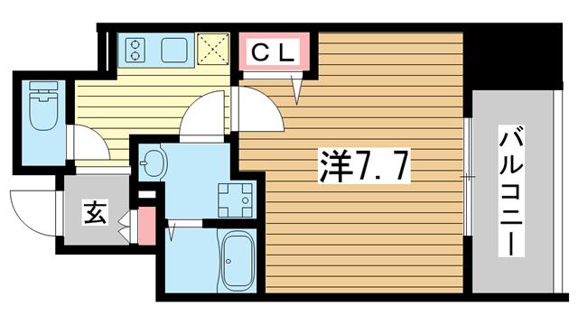 物件番号: 1025883624 プレサンス神戸元町ベルシオン  神戸市中央区海岸通4丁目 1K マンション 間取り図