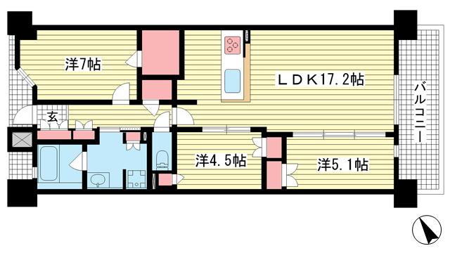物件番号: 1025883656 ジオ神戸中山手通  神戸市中央区中山手通7丁目 3LDK マンション 間取り図