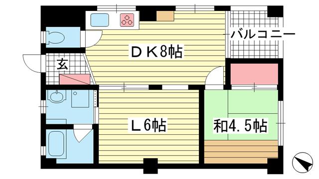 物件番号: 1025883658 和田宮マンション  神戸市兵庫区和田宮通5丁目 1LDK マンション 間取り図