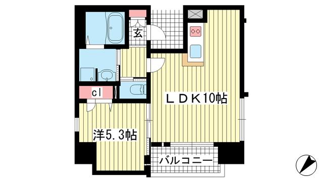 物件番号: 1025883661 プレサンス三宮ディライト  神戸市中央区御幸通3丁目 1LDK マンション 間取り図
