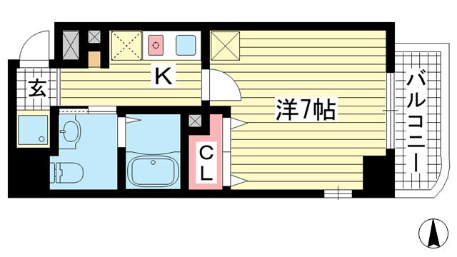 物件番号: 1025883662 クレアール神戸  神戸市中央区加納町3丁目 1K マンション 間取り図