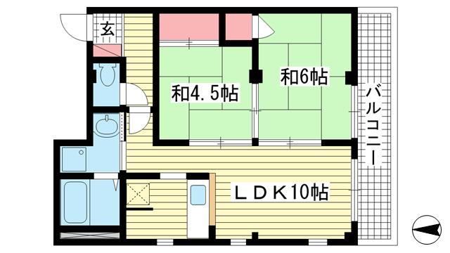物件番号: 1025883663 トラスティー御影  神戸市東灘区御影中町1丁目 2LDK マンション 間取り図
