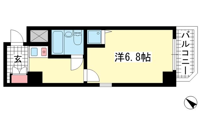 物件番号: 1025883667 ライオンズスクエア神戸元町  神戸市中央区栄町通6丁目 1K マンション 間取り図