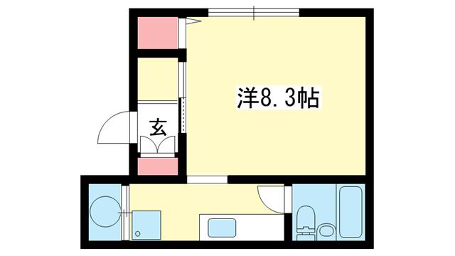 物件番号: 1025883668 ポートピアプラザF棟  神戸市中央区港島中町6丁目 1K マンション 間取り図