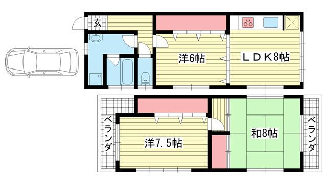 物件番号: 1025883669 花山台貸家  神戸市北区花山台 3LDK 貸家 間取り図