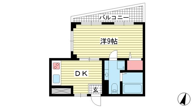 物件番号: 1025883671 北野コーポラス  神戸市中央区北野町1丁目 1DK マンション 間取り図