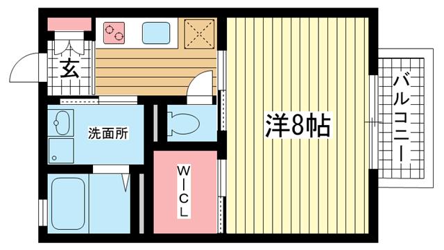 物件番号: 1025883672 シャーメゾン上沢  神戸市兵庫区上沢通5丁目 1K ハイツ 間取り図