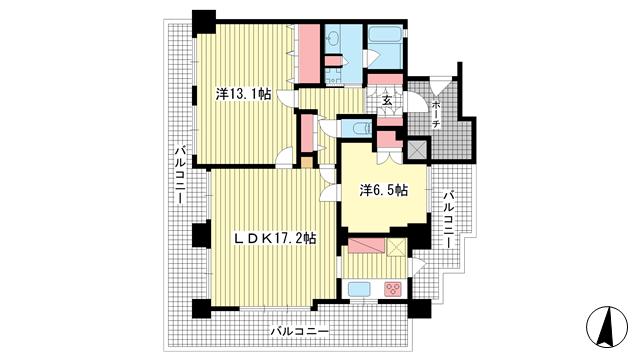 物件番号: 1025883681 ワコーレグランビュー熊内  神戸市中央区熊内橋通3丁目 2LDK マンション 間取り図