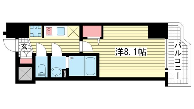 物件番号: 1025883686 ララプレイス ザ・神戸シルフ  神戸市中央区中町通4丁目 1K マンション 間取り図