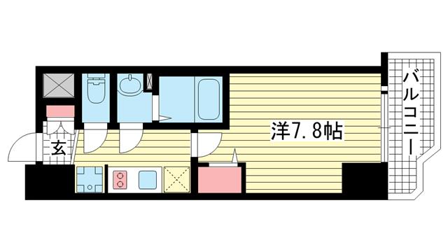 物件番号: 1025883691 ララプレイス ザ・神戸シルフ  神戸市中央区中町通4丁目 1K マンション 間取り図
