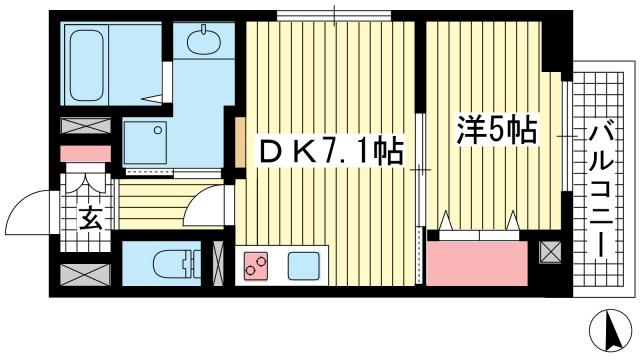 物件番号: 1025883694 JEUNESSE北野  神戸市中央区加納町2丁目 1DK マンション 間取り図