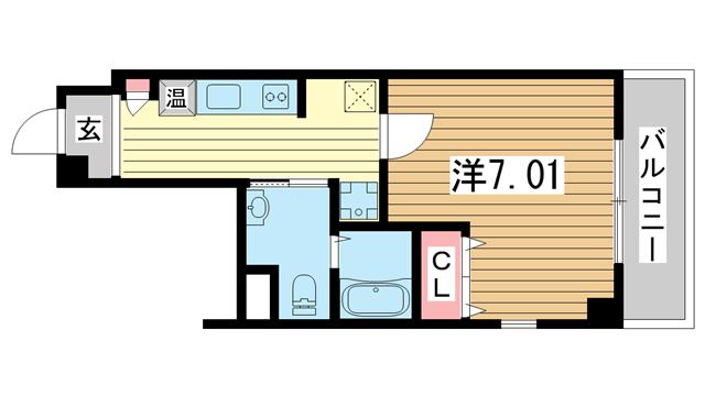 物件番号: 1025883699 ラ・フォンテ春日野  神戸市中央区東雲通1丁目 1K マンション 間取り図