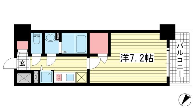 物件番号: 1025883705 エスリード神戸レジデンス  神戸市中央区橘通4丁目 1K マンション 間取り図