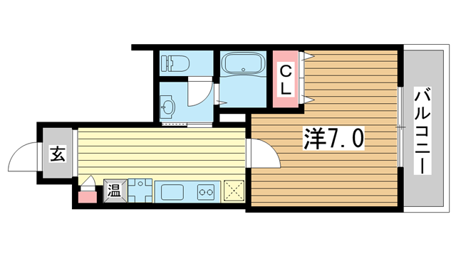 物件番号: 1025883706 ラ・フォンテ春日野  神戸市中央区東雲通1丁目 1K マンション 間取り図