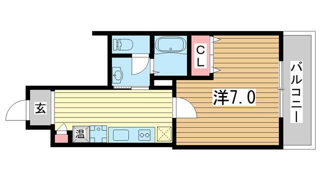 物件番号: 1025883707 ラ・フォンテ春日野  神戸市中央区東雲通1丁目 1K マンション 間取り図
