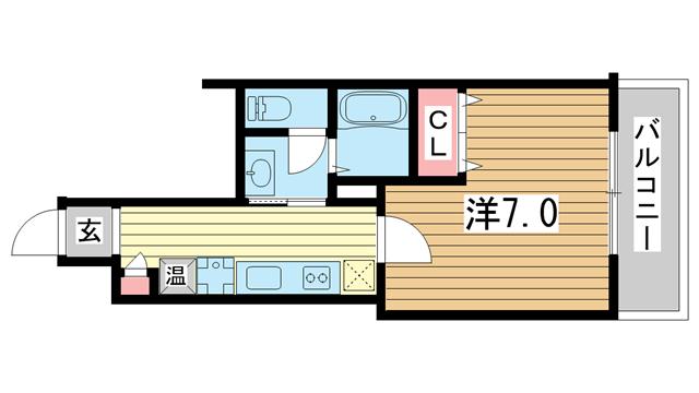 物件番号: 1025883708 ラ・フォンテ春日野  神戸市中央区東雲通1丁目 1K マンション 間取り図