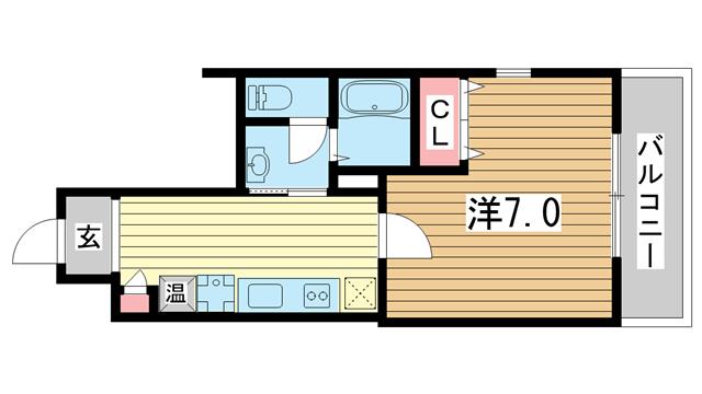 物件番号: 1025883710 ラ・フォンテ春日野  神戸市中央区東雲通1丁目 1K マンション 間取り図