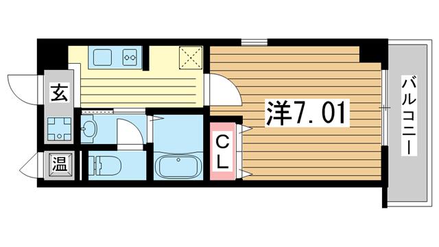 物件番号: 1025883725 ラ・フォンテ春日野  神戸市中央区東雲通1丁目 1K マンション 間取り図