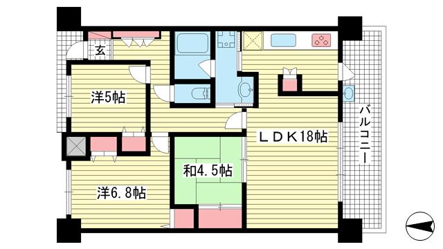 物件番号: 1025883741 リベール新神戸プレミアム  神戸市中央区旗塚通6丁目 2SLDK マンション 間取り図