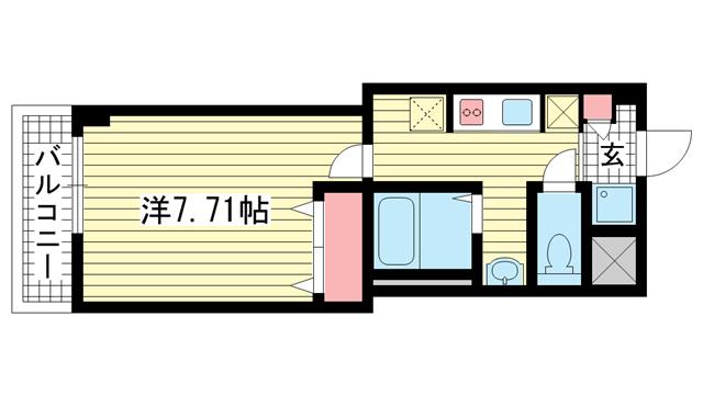 物件番号: 1025883746 ルミエール王子公園  神戸市灘区倉石通4丁目 1K マンション 間取り図