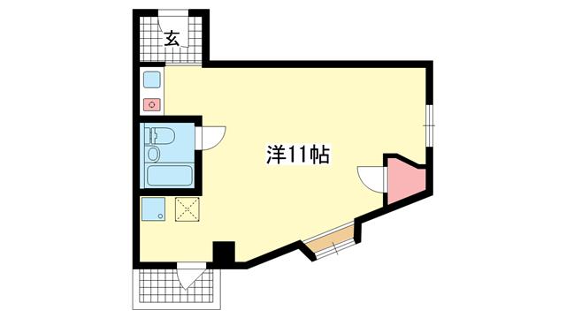 物件番号: 1025883750 カサベラ神戸  神戸市中央区相生町5丁目 1K マンション 間取り図