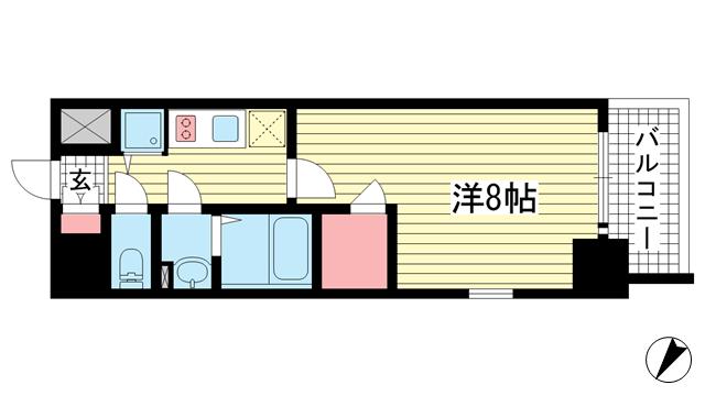 物件番号: 1025883752 エスリード神戸レジデンス  神戸市中央区橘通4丁目 1K マンション 間取り図