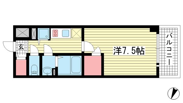物件番号: 1025883753 エスリード神戸レジデンス  神戸市中央区橘通4丁目 1K マンション 間取り図