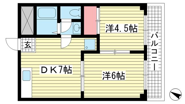 物件番号: 1025883758 メゾン幸  神戸市中央区宮本通6丁目 2DK マンション 間取り図