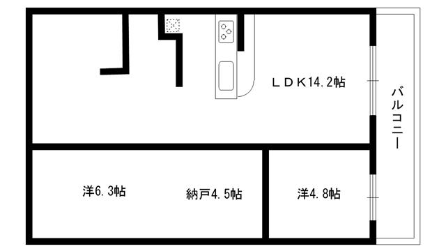 物件番号: 1025883759  神戸市灘区桜口町2丁目 2SLDK マンション 間取り図