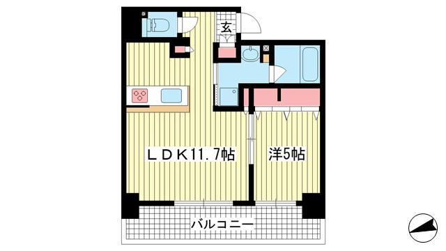 物件番号: 1025883762 ワコーレザ・神戸トアロード  神戸市中央区中山手通3丁目 1LDK マンション 間取り図