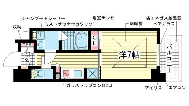 物件番号: 1025883769 アーバネックスみなと元町  神戸市中央区元町通5丁目 1K マンション 間取り図