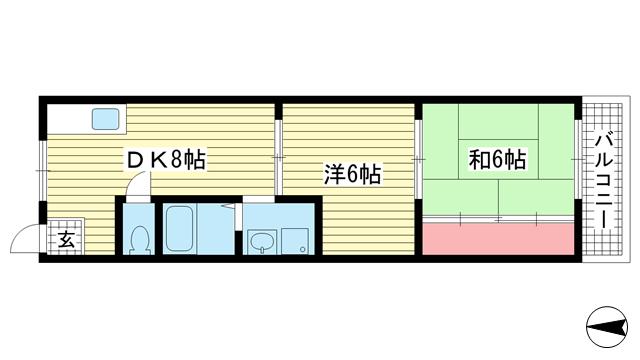 物件番号: 1025883770 サンシャインA  神戸市垂水区馬場通 2DK マンション 間取り図