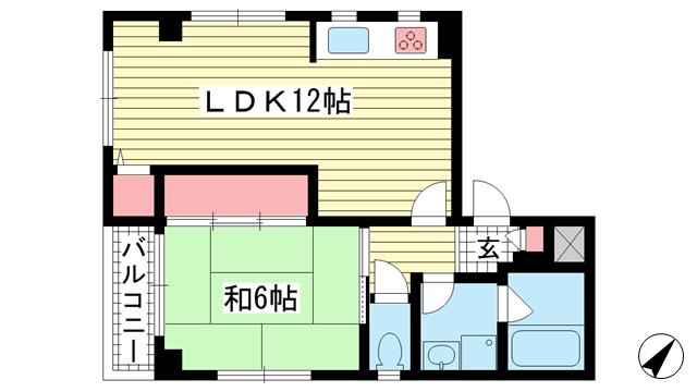 物件番号: 1025883775 ハイム九州屋  神戸市中央区中山手通7丁目 1LDK マンション 間取り図
