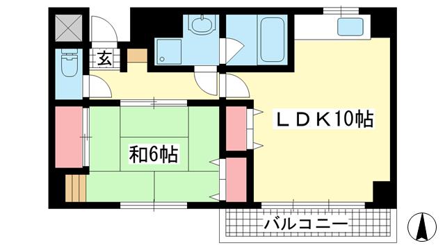 物件番号: 1025883779 ハミングコート  神戸市中央区北長狭通8丁目 1LDK マンション 間取り図