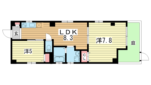 物件番号: 1025883785 宝ビル  神戸市中央区日暮通1丁目 2LDK マンション 間取り図
