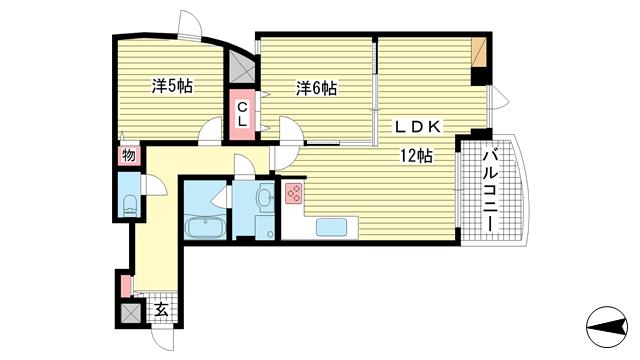 物件番号: 1025883789 アクト・ワン第3ビル  神戸市中央区熊内町4丁目 2LDK マンション 間取り図