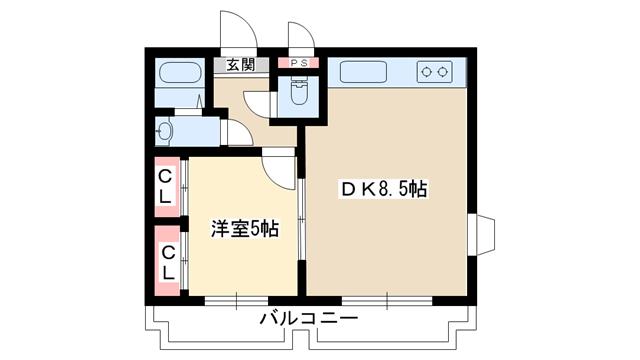 物件番号: 1025883800 ルーブル西灘  神戸市灘区都通3丁目 1DK マンション 間取り図