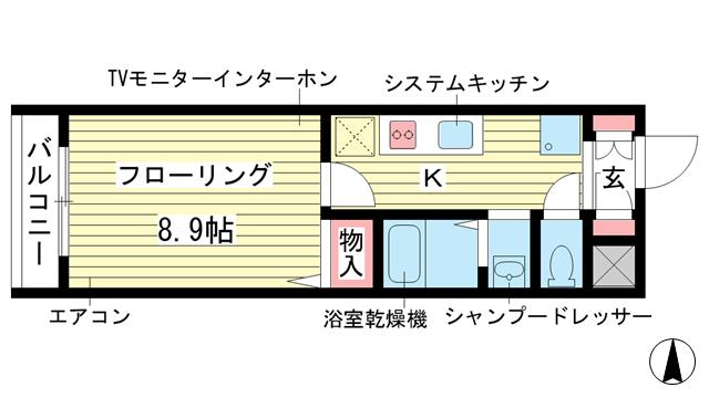 物件番号: 1025883802 パトリア芦屋  神戸市東灘区深江本町1丁目 1K マンション 間取り図