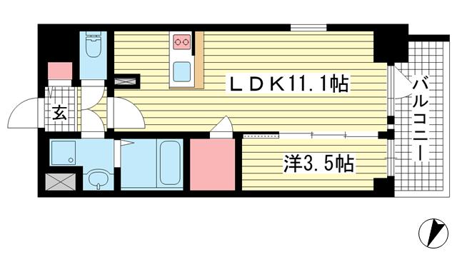 物件番号: 1025883810 エスリード神戸レジデンス  神戸市中央区橘通4丁目 1LDK マンション 間取り図