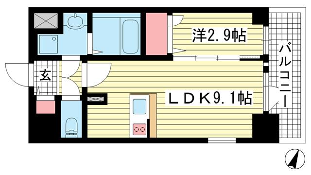 物件番号: 1025883811 エスリード神戸レジデンス  神戸市中央区橘通4丁目 1LDK マンション 間取り図