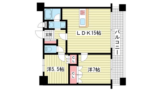 物件番号: 1025883820 リーガル新神戸パークサイド  神戸市中央区生田町2丁目 2LDK マンション 間取り図