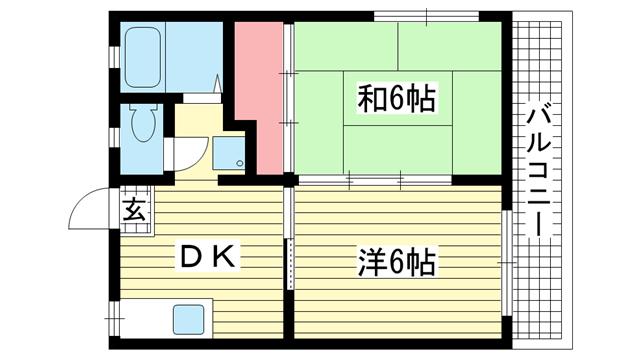 物件番号: 1025883821 本郷ハイツ  神戸市中央区花隈町 2DK ハイツ 間取り図