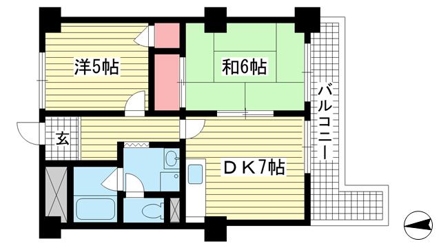 物件番号: 1025883823 ロイヤル花隈  神戸市中央区北長狭通6丁目 2DK マンション 間取り図