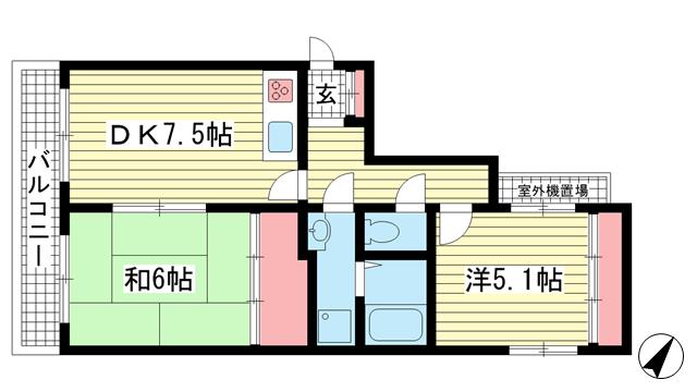 物件番号: 1025883824 アベイル21  神戸市中央区北長狭通7丁目 2DK マンション 間取り図