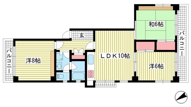 物件番号: 1025883831 山手ハイツ  神戸市中央区中山手通4丁目 3LDK マンション 間取り図