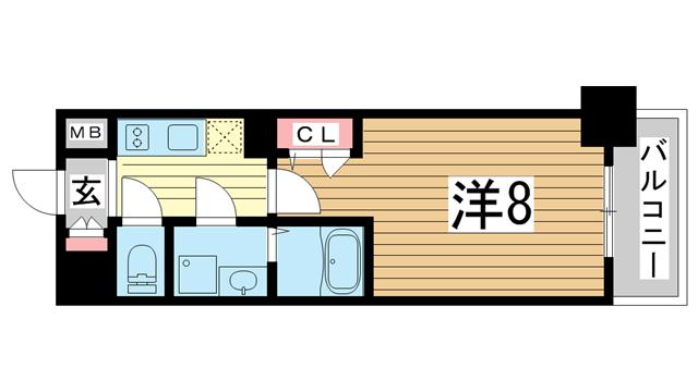 物件番号: 1025883833 エスプレイス神戸ウエストゲート  神戸市兵庫区駅前通4丁目 1K マンション 間取り図