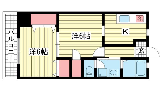 物件番号: 1025883834 ルミエールダイドー  神戸市中央区北長狭通7丁目 2K マンション 間取り図