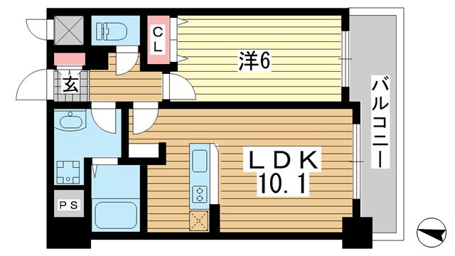 物件番号: 1025883835 インボイス新神戸レジデンス  神戸市中央区生田町3丁目 1LDK マンション 間取り図
